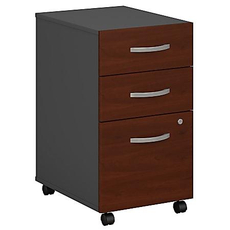 Bush Business Furniture Components 3 Drawer Mobile File Cabinet, Hansen Cherry/Graphite Gray, Standard Delivery