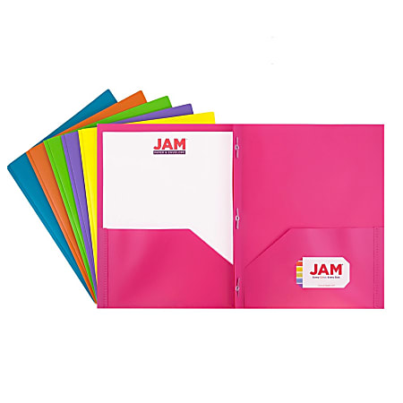"""JAM Paper® Plastic 2-Pocket POP Folders With Prongs, Letter Size, 9-1/2"""" x 11-1/2"""", Assorted Fashion Colors, Pack Of 6 Folders"""