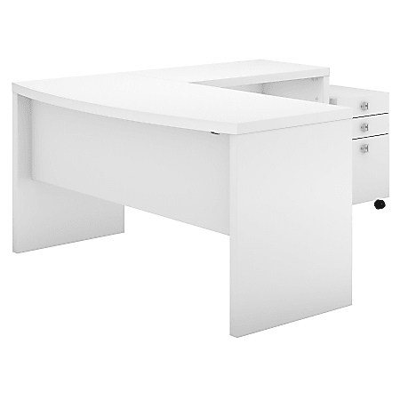 kathy ireland® Office by Bush Business Furniture Echo L Shaped Bow Front Desk With Mobile File Cabinet, Pure White, Standard Delivery