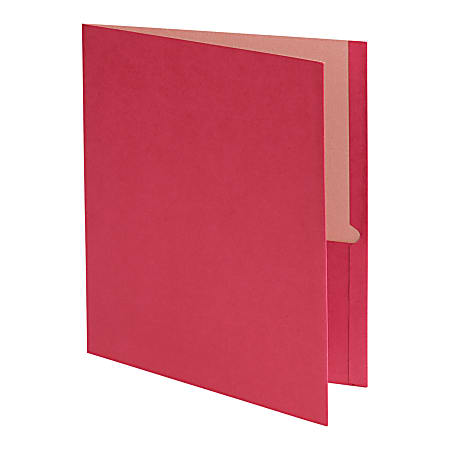 Earthwise® by Oxford™ Twin-Pocket Folder, 95% Recycled, Red, Box Of 25