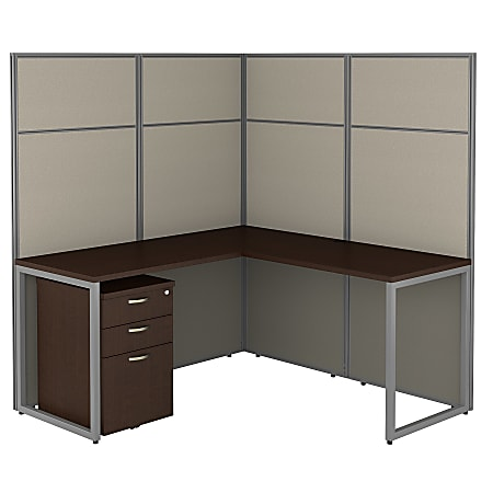 """Bush Business Furniture Easy Office 60""""W L-Shaped Cubicle Desk With File Cabinet And 66""""H Panels, Mocha Cherry, Premium Installation"""