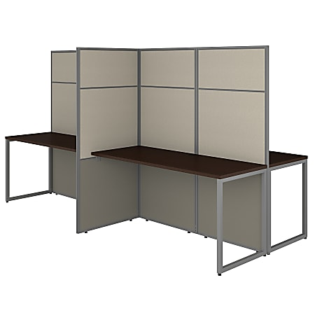 """Bush Business Furniture Easy Office 60""""W 4-Person Cubicle Desk Workstation With 66""""H Panels, Mocha Cherry, Premium Installation"""