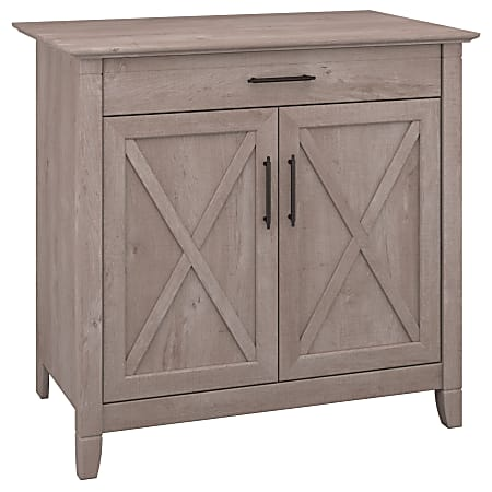 Bush Furniture Key West Secretary Desk with Keyboard Tray and Storage Cabinet, Washed Gray, Standard Delivery