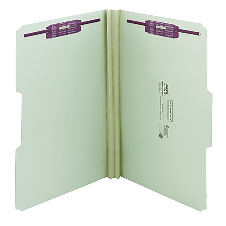 """Smead® Pressboard Fastener Folders With SafeSHIELD® Fasteners, 2"""" Expansion, Legal Size, 100% Recycled, Gray/Green, Box Of 25"""