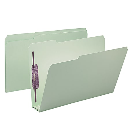 """Smead® Pressboard Fastener Folders With SafeSHIELD® Fasteners, 3"""" Expansion, Legal Size, 100% Recycled, Gray/Green, Box Of 25"""