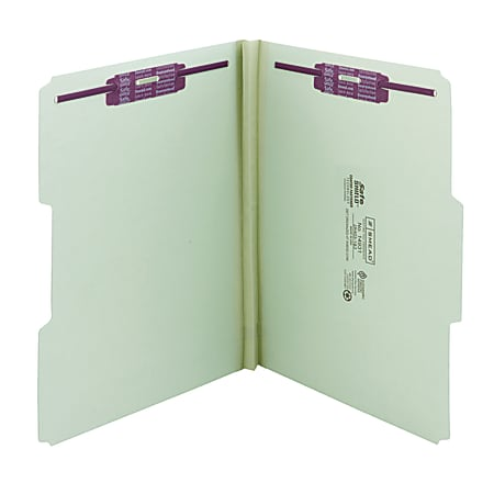 """Smead® Pressboard Fastener Folders With SafeSHIELD® Fasteners, 1"""" Expansion, Letter Size, 100% Recycled, Gray/Green, Box Of 25"""