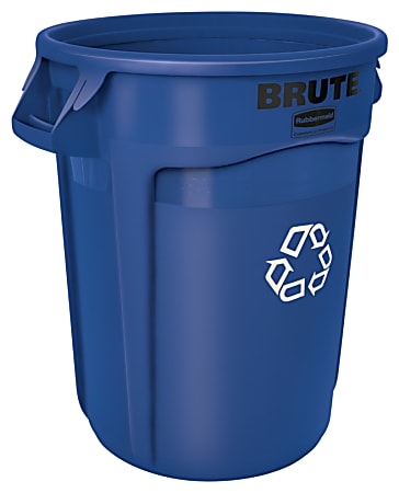 """Rubbermaid® Heavy-Duty Recycling Container, 32 Gallons, 27"""" x 22"""" x 22"""", Blue"""