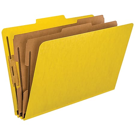 """Pendaflex® PressGuard® Color Classification File Folder, 8 1/2"""" x 14"""", Legal Size, 65% Recycled, Yellow, Box Of 10"""