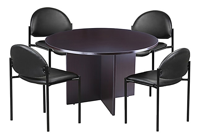 Boss Office Products Conference Table And Stackable Chairs Set, Mocha/Black