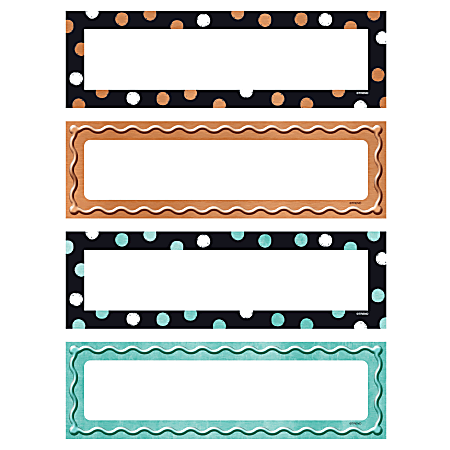 """TREND I Love Metal Dots And Embossed Desk Toppers Nameplates, 2-7/8"""" x 9-9/16"""", Assorted Designs, Pack Of 32 Nameplates"""