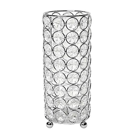 "Elegant Designs Ellipse Crystal Decorative Vase, 7-3/4""H x 3-1/4""W x 3-1/4""D, Chrome"