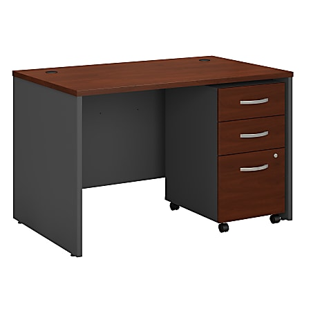 """Bush Business Furniture Components 48""""W x 30""""D Office Desk With Mobile File Cabinet, Hansen Cherry, Standard Delivery"""