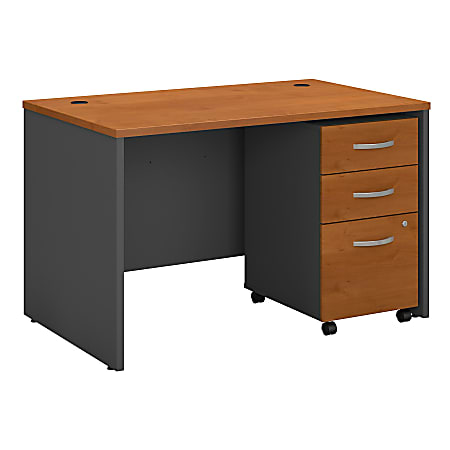 """Bush Business Furniture Components 48""""W x 30""""D Office Desk With Mobile File Cabinet, Natural Cherry/Graphite Gray, Standard Delivery"""