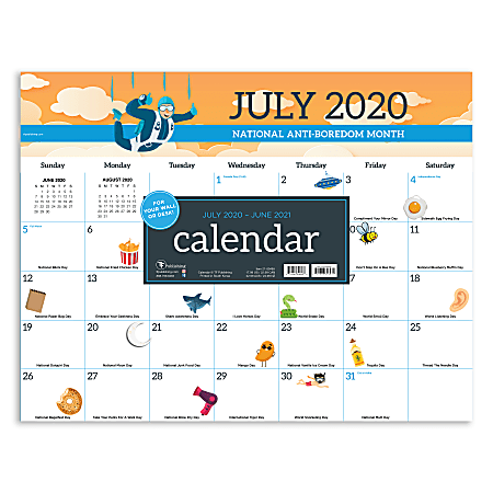 "TF Publishing Monthly Academic Desk Pad, 17"" x 22"", Every Day's A Holiday, July 2020 To June 2021"