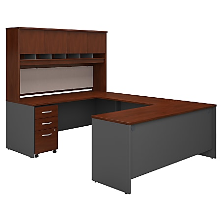 """Bush Business Furniture Components 72""""W U-Shaped Desk With Hutch And Storage, Hansen Cherry/Graphite Gray, Standard Delivery"""