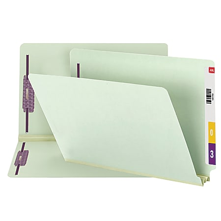 """Smead® Pressboard End-Tab Folders With Fastener, Straight Cut, 2"""" Expansion, Legal Size, 100% Recycled, Gray/Green, Pack Of 25"""