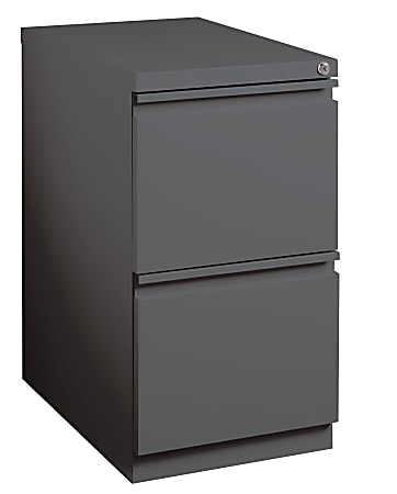 "WorkPro® 19-7/8""D Vertical 2-Drawer Mobile Pedestal File Cabinet, Metal, Charcoal"
