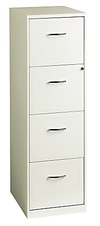 """Realspace® 18""""D Vertical 4-Drawer File Cabinet, Metal, Pearl White"""