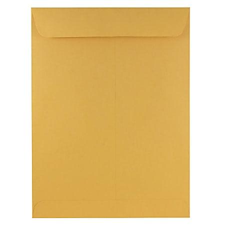 """JAM Paper® Open-End 9"""" x 12"""" Envelopes, Gummed Seal, Brown Kraft, Pack Of 50 Envelopes"""