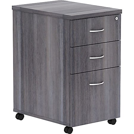 "Lorell® Essentials 22""D Vertical 3-Drawer Mobile Pedestal File Cabinet, Weathered Charcoal"