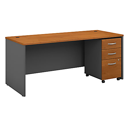 """Bush Business Furniture Components 72""""W x 30""""D Office Desk With Mobile File Cabinet, Natural Cherry/Graphite Gray, Standard Delivery"""