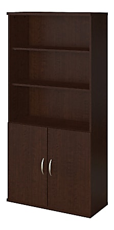 "Bush Business Furniture Components Elite 36""W 5-Shelf Bookcase With Doors, Mocha Cherry, Standard Delivery"