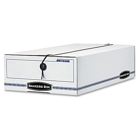 "Bankers Box® Liberty® Corrugated Storage Boxes, 4 1/4"" x 9 1/4"" x 15"", 65% Recycled, White/Blue, Case Of 12"