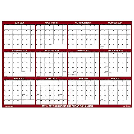 "SwiftGlimpse Laminated Academic Wall Calendar, 32"" x 48"", Burgundy, June 2021 To July 2022"