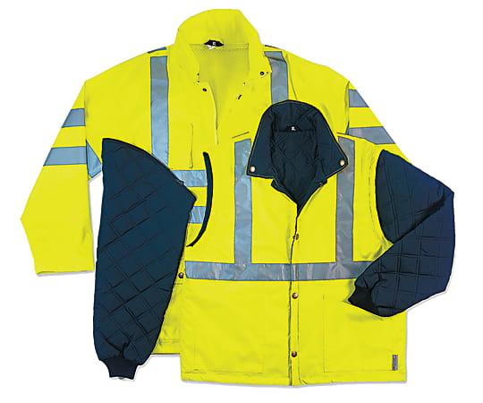 Ergodyne GloWear 8385 4-In-1 Thermal Jacket, Large, Lime
