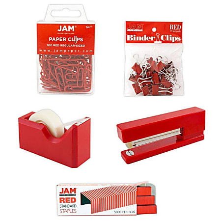 JAM Paper® 5-Piece Office Starter Kit, Red