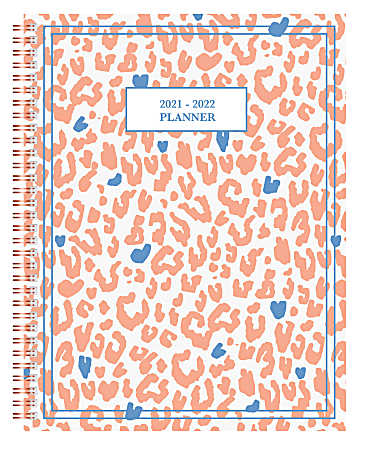"""Office Depot® Brand Fashion Weekly/Monthly Academic Planner, 8-1/2"""" x 11"""", Cheetah Love, July 2021 To June 2022, ODUS2033-026"""