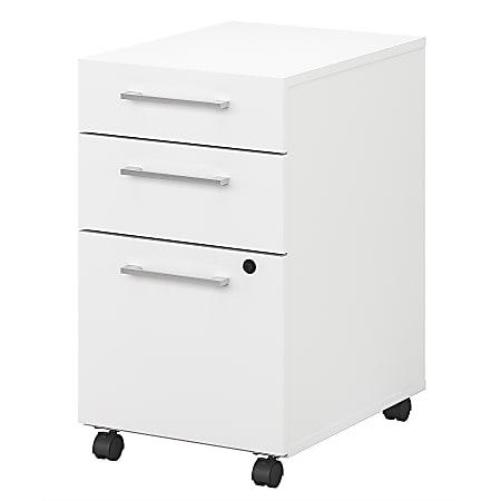 "Bush Business Furniture 400 20-1/6""D Vertical 3-Drawer Mobile File Cabinet, White, Standard Delivery"