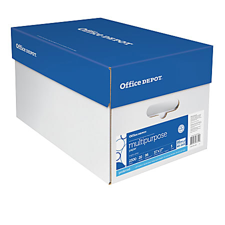 """Office Depot® Brand Multi-Use Paper, Ledger Size (11"""" x 17""""), 96 (U.S.) Brightness, 20 Lb, Ream Of 500 Sheets, Case Of 5 Reams"""