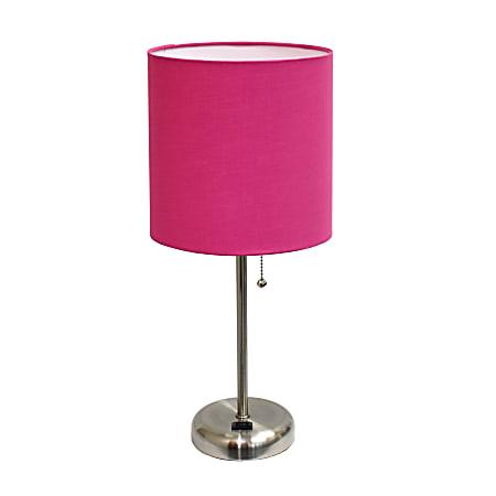 """LimeLights Stick Lamp, 19 1/2""""H, Pink Shade/Brushed Steel Base"""