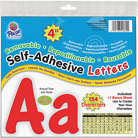 Pacon 154 Character Self-adhesive Letter Set