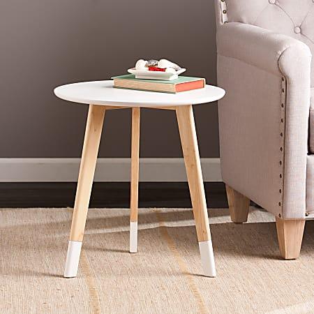 Southern Enterprises Neelan Accent Table, Round, White/Natural