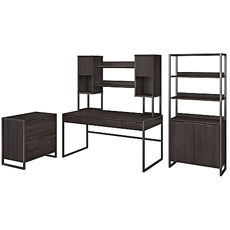 """kathy ireland® Office by Bush Business Furniture Atria 60""""W Writing Desk With Hutch, Lateral File Cabinet And 5 Shelf Bookcase, Charcoal Gray, Standard Delivery"""
