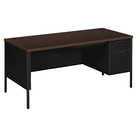 HON® Metro Classic Right Pedestal Desk, Mocha/Black