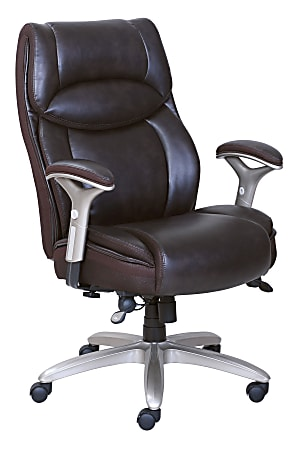 Serta® Smart Layers™ Jennings Big And Tall Bonded Leather High-Back Executive Chair, Brown