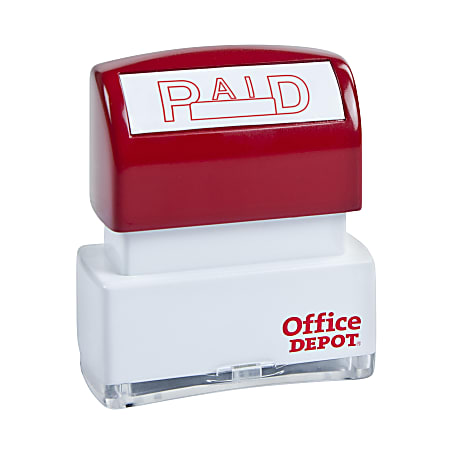 """Office Depot® Brand Pre-Inked Message Stamp, """"Paid"""", Red"""