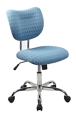 Realspace® Jancy Quilted Fabric Low-Back Task Chair, Blue/Chrome