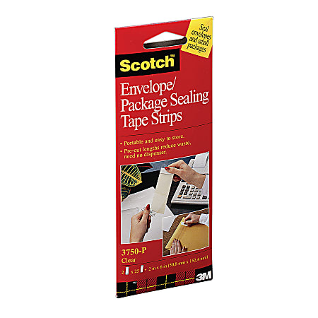 """Scotch® Envelope/Package Sealing Tape Strips, 1-7/8"""" x 6"""", Pack Of 50 Tape Strips"""