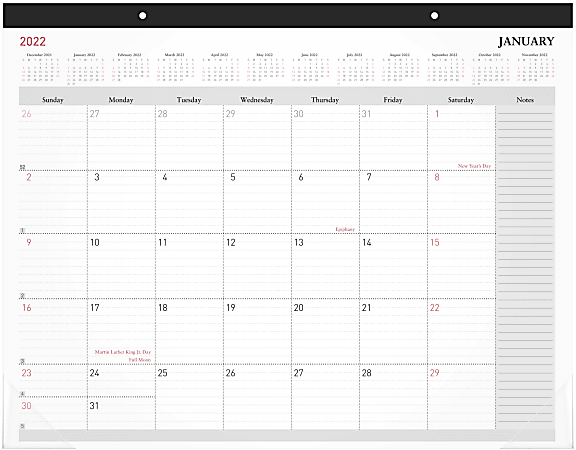 "Office Depot® Brand Monthly Desk Pad Calendar, 21-3/4"" x 17"", White, January To December 2022, OD202600"