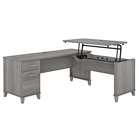 """Bush Furniture Somerset 72""""W 3-Position Sit-To-Stand L-Shaped Desk, Platinum Gray, Standard Delivery"""