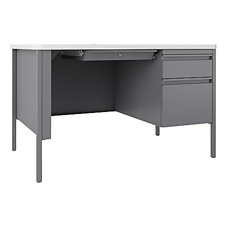 Lorell™ Fortress Steel Right-Pedestal Teacher's Desk, Platinum/White