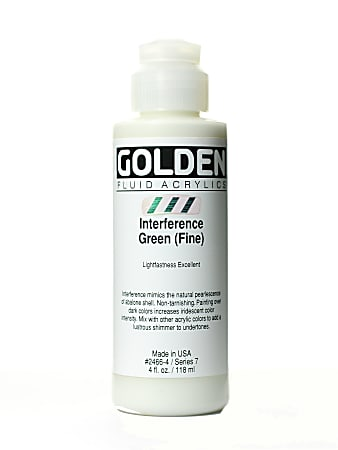 Golden Fluid Acrylic Paint, 4 Oz, Interference Green Fine