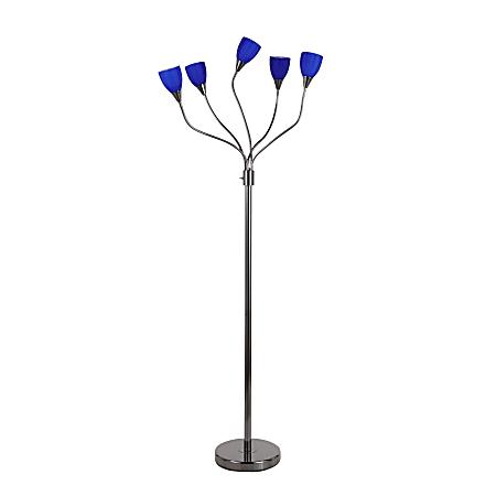 "LumiSource Medusa Contemporary Floor Lamp, 71-3/4""H, Blue Shade/Black Base"