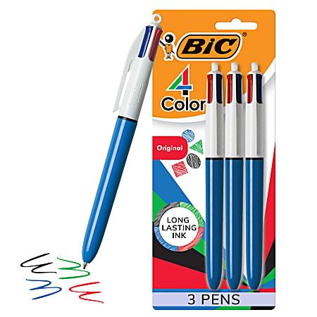 BIC® 4-Color™ Retractable Ballpoint Pen, Medium Point, 1.0 mm, Blue Barrel, Assorted Ink Colors, Pack Of 3