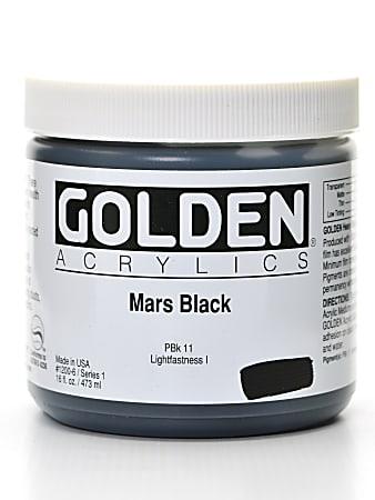 Golden Heavy Body Acrylic Paint, 16 Oz, Mars Black