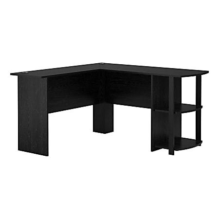 Ameriwood™ Home Dakota L-Shaped Desk With Bookshelves, Black Ebony Ash